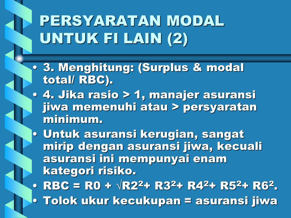PERSYARATAN MODAL UNTUK FI LAIN (1) Untuk perusahaan sekuritas:Untuk perusahaan sekuritas: (Nilai bersih/ aset2)  2%(Nilai bersih/ aset2)  2% Pada asuransi jiwa, ada suatu model persyaratan modal, dengan prosedur:Pada asuransi jiwa, ada suatu model persyaratan modal, dengan prosedur: 1.