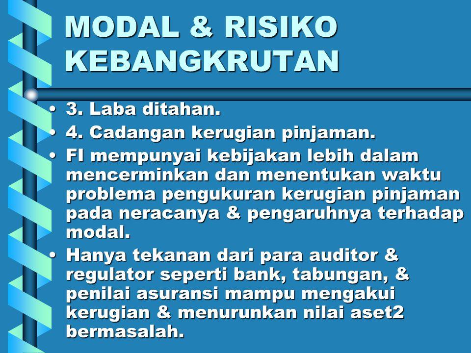 MODAL & RISIKO KEBANGKRUTAN Nilai buku mencerminkan nilai pada waktu pinjaman dibuat dan obligasi dibeli, itu pada beberapa tahun lalu.Nilai buku menc