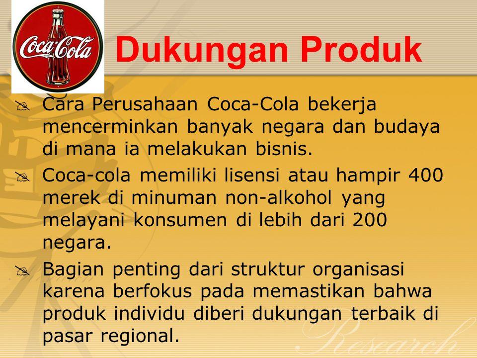 Dukungan Produk  Cara Perusahaan Coca-Cola bekerja mencerminkan banyak negara dan budaya di mana ia melakukan bisnis.  Coca-cola memiliki lisensi at