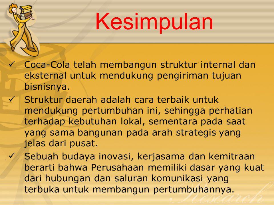 Kesimpulan Coca-Cola telah membangun struktur internal dan eksternal untuk mendukung pengiriman tujuan bisnisnya. Struktur daerah adalah cara terbaik