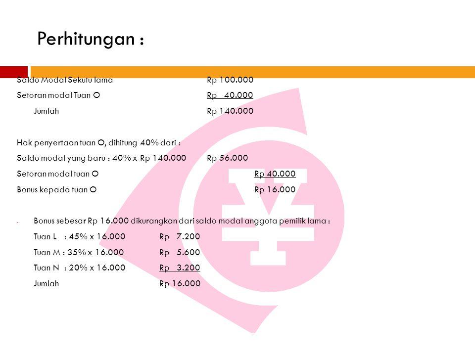 Perhitungan : Saldo Modal Sekutu lamaRp 100.000 Setoran modal Tuan ORp 40.000 Jumlah Rp 140.000 Hak penyertaan tuan O, dihitung 40% dari : Saldo modal