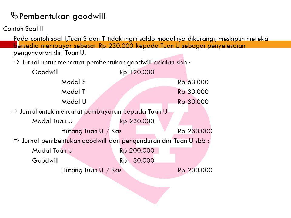  Pembentukan goodwill Contoh Soal II Pada contoh soal I,Tuan S dan T tidak ingin saldo modalnya dikurangi, meskipun mereka bersedia membayar sebesar