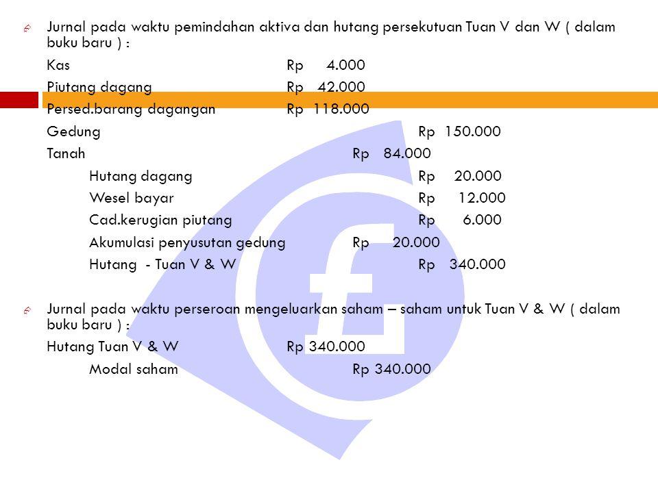  Jurnal pada waktu pemindahan aktiva dan hutang persekutuan Tuan V dan W ( dalam buku baru ) : KasRp 4.000 Piutang dagangRp 42.000 Persed.barang daga