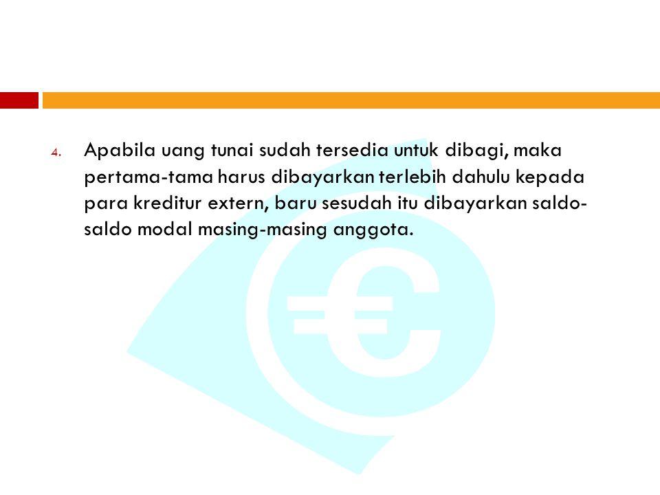 4. Apabila uang tunai sudah tersedia untuk dibagi, maka pertama-tama harus dibayarkan terlebih dahulu kepada para kreditur extern, baru sesudah itu di