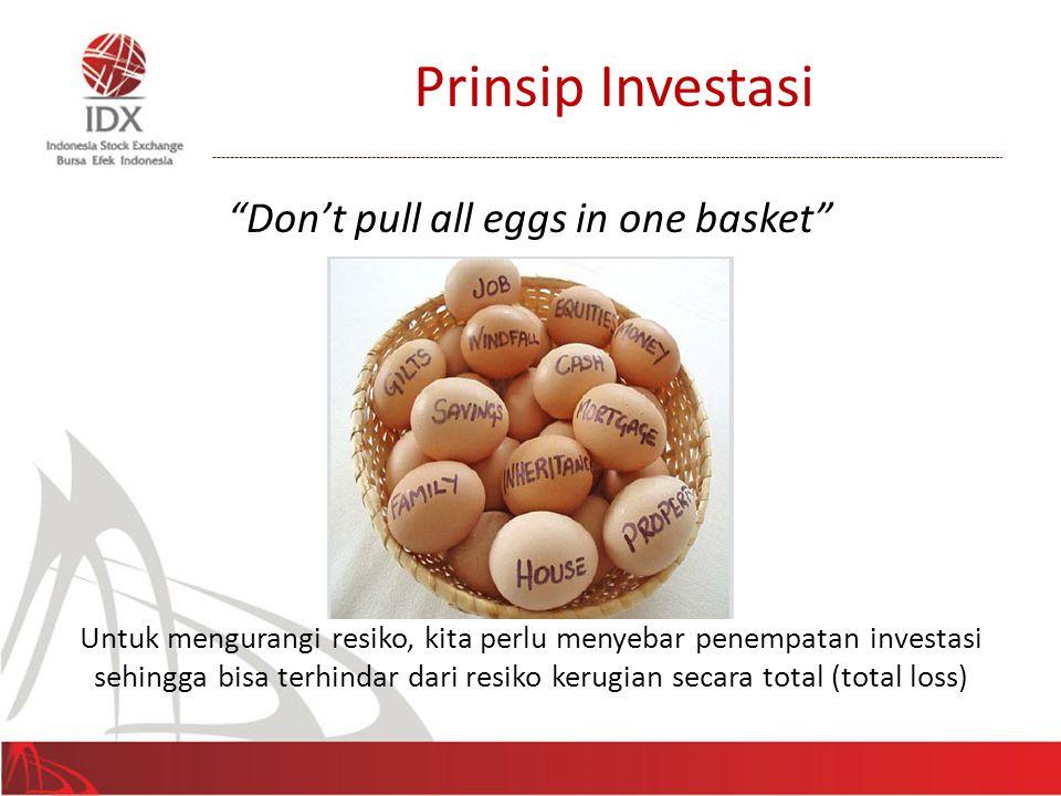 """Prinsip Investasi """"Don't pull all eggs in one basket"""" Untuk mengurangi resiko, kita perlu menyebar penempatan investasi sehingga bisa terhindar dari r"""