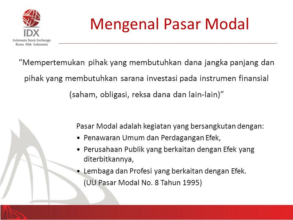 """Mengenal Pasar Modal """"Mempertemukan pihak yang membutuhkan dana jangka panjang dan pihak yang membutuhkan sarana investasi pada instrumen finansial (s"""
