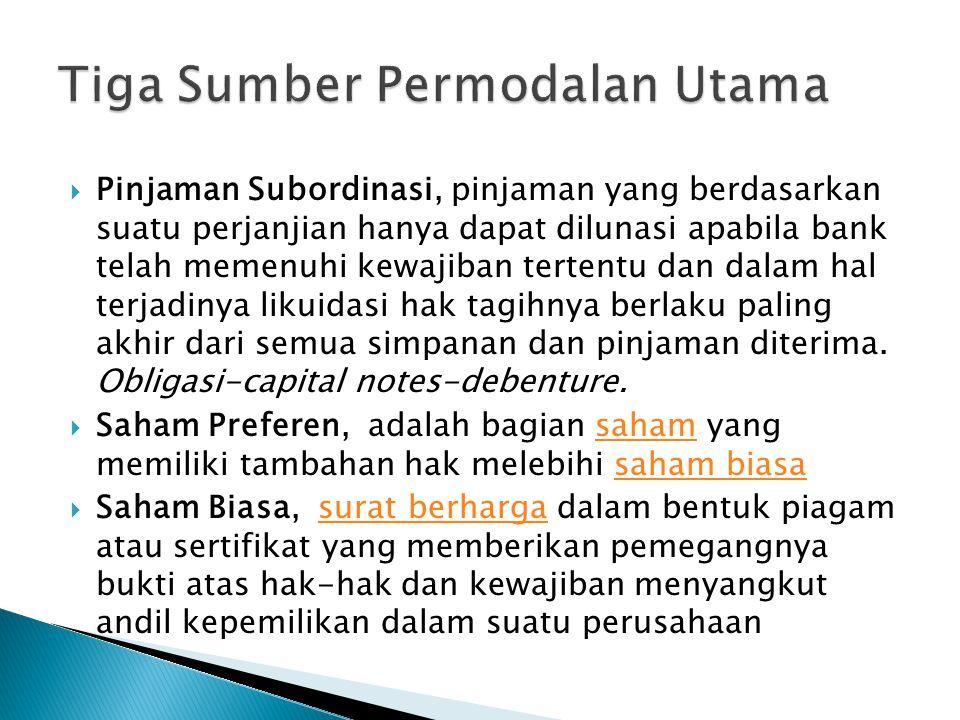  Pinjaman Subordinasi, pinjaman yang berdasarkan suatu perjanjian hanya dapat dilunasi apabila bank telah memenuhi kewajiban tertentu dan dalam hal terjadinya likuidasi hak tagihnya berlaku paling akhir dari semua simpanan dan pinjaman diterima.