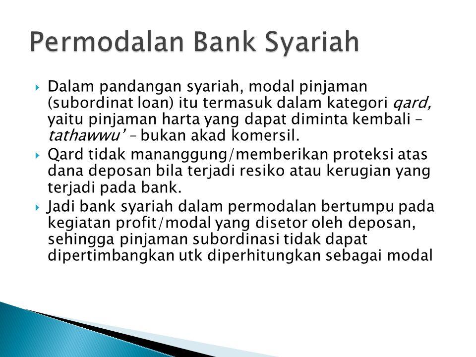  Dalam pandangan syariah, modal pinjaman (subordinat loan) itu termasuk dalam kategori qard, yaitu pinjaman harta yang dapat diminta kembali – tathawwu' – bukan akad komersil.
