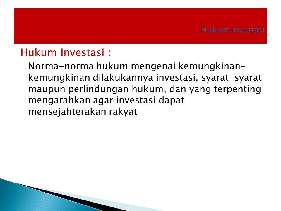 Hukum Investasi : Norma-norma hukum mengenai kemungkinan- kemungkinan dilakukannya investasi, syarat-syarat maupun perlindungan hukum, dan yang terpen