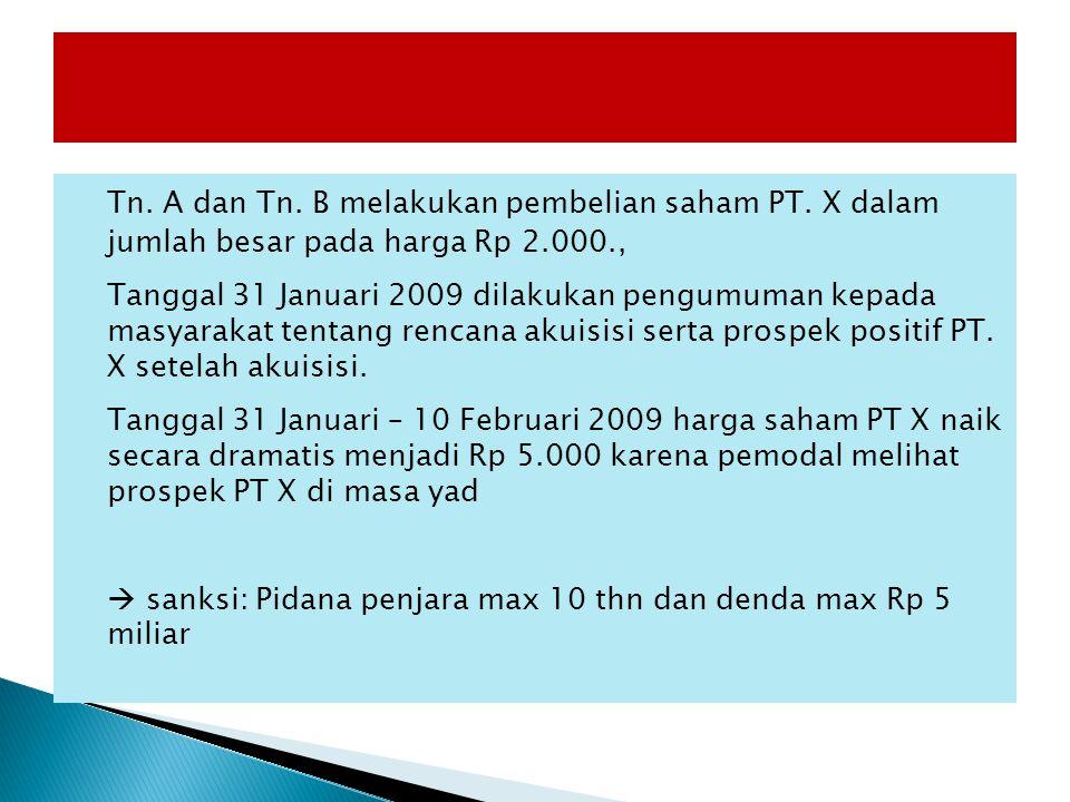 Tn. A dan Tn. B melakukan pembelian saham PT. X dalam jumlah besar pada harga Rp 2.000., Tanggal 31 Januari 2009 dilakukan pengumuman kepada masyaraka