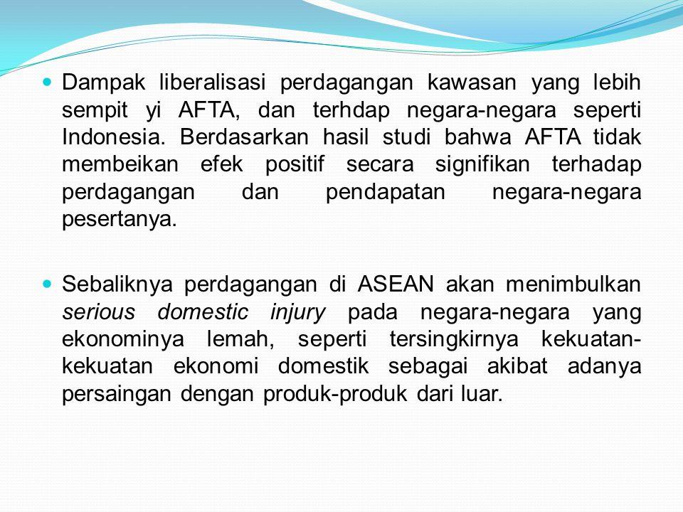 Dampak liberalisasi perdagangan kawasan yang lebih sempit yi AFTA, dan terhdap negara-negara seperti Indonesia. Berdasarkan hasil studi bahwa AFTA tid