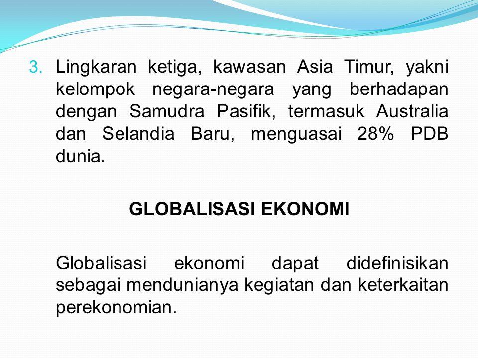 3. Lingkaran ketiga, kawasan Asia Timur, yakni kelompok negara-negara yang berhadapan dengan Samudra Pasifik, termasuk Australia dan Selandia Baru, me