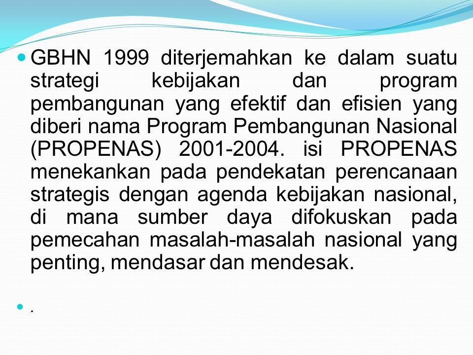 GBHN 1999 diterjemahkan ke dalam suatu strategi kebijakan dan program pembangunan yang efektif dan efisien yang diberi nama Program Pembangunan Nasion