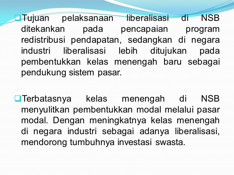  Tujuan pelaksanaan liberalisasi di NSB ditekankan pada pencapaian program redistribusi pendapatan, sedangkan di negara industri liberalisasi lebih d