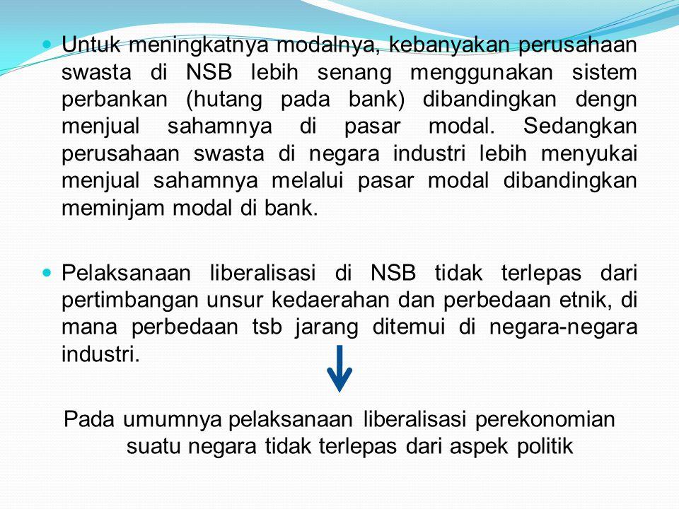 Untuk meningkatnya modalnya, kebanyakan perusahaan swasta di NSB lebih senang menggunakan sistem perbankan (hutang pada bank) dibandingkan dengn menju