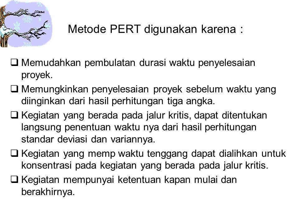 Metode PERT digunakan karena :  Memudahkan pembulatan durasi waktu penyelesaian proyek.