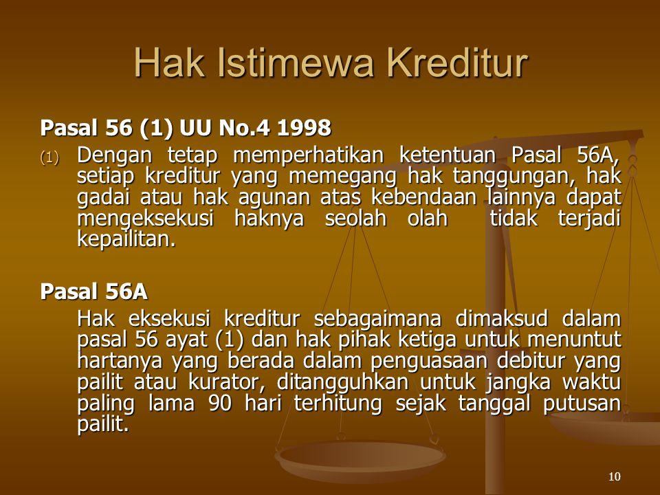 10 Hak Istimewa Kreditur Pasal 56 (1) UU No.4 1998 (1) Dengan tetap memperhatikan ketentuan Pasal 56A, setiap kreditur yang memegang hak tanggungan, h