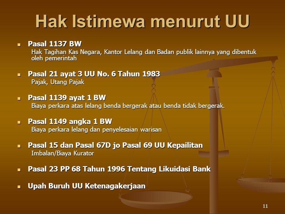 11 Hak Istimewa menurut UU Pasal 1137 BW Pasal 1137 BW Hak Tagihan Kas Negara, Kantor Lelang dan Badan publik lainnya yang dibentuk oleh pemerintah Pa