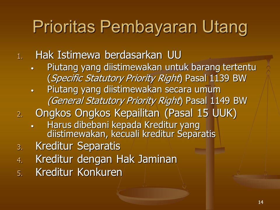 14 Prioritas Pembayaran Utang 1. Hak Istimewa berdasarkan UU Piutang yang diistimewakan untuk barang tertentu Piutang yang diistimewakan untuk barang