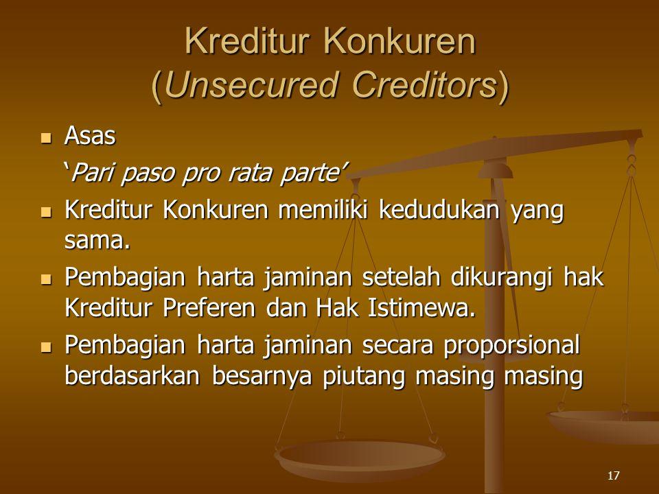17 Kreditur Konkuren (Unsecured Creditors) Asas Asas 'Pari paso pro rata parte' Kreditur Konkuren memiliki kedudukan yang sama. Kreditur Konkuren memi