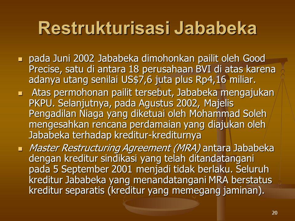 20 Restrukturisasi Jababeka pada Juni 2002 Jababeka dimohonkan pailit oleh Good Precise, satu di antara 18 perusahaan BVI di atas karena adanya utang