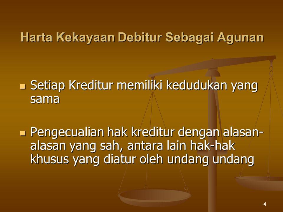 4 Harta Kekayaan Debitur Sebagai Agunan Setiap Kreditur memiliki kedudukan yang sama Setiap Kreditur memiliki kedudukan yang sama Pengecualian hak kre