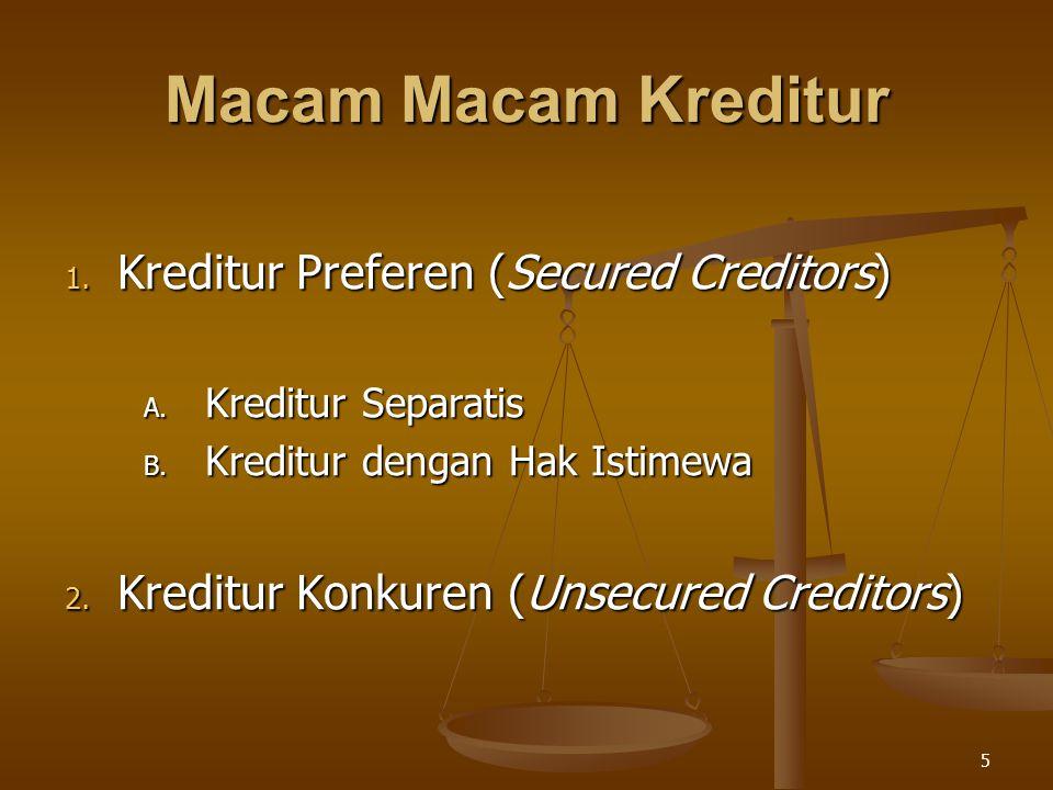5 Macam Macam Kreditur 1. Kreditur Preferen (Secured Creditors) A. Kreditur Separatis B. Kreditur dengan Hak Istimewa 2. Kreditur Konkuren (Unsecured