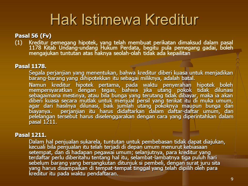 9 Hak Istimewa Kreditur Pasal 56 (Fv) (1)Kreditur pemegang hipotek, yang telah membuat perikatan dimaksud dalam pasal 1178 Kitab Undang-undang Hukum P