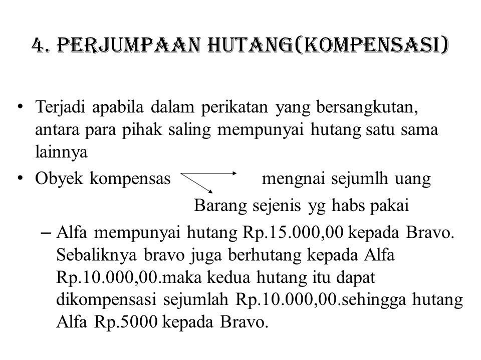 4. Perjumpaan hutang(kompensasi) Terjadi apabila dalam perikatan yang bersangkutan, antara para pihak saling mempunyai hutang satu sama lainnya Obyek