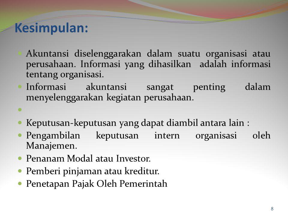 Kesimpulan: Akuntansi diselenggarakan dalam suatu organisasi atau perusahaan.