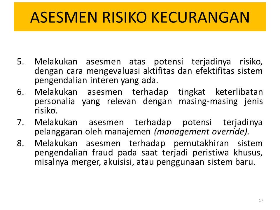 ASESMEN RISIKO KECURANGAN 5.Melakukan asesmen atas potensi terjadinya risiko, dengan cara mengevaluasi aktifitas dan efektifitas sistem pengendalian i
