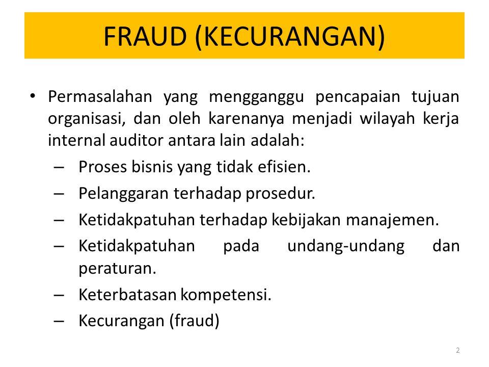 FRAUD (KECURANGAN) Fraud adalah tindakan ilegal untuk memenuhi kepentingan pribadi atau kelompok, baik dalam bentuk penyalahgunaan wewenang, penyembunyian kebenaran (deceit), pemalsuan dokumen, maupun dalam bentuk pelanggaran kepercayaan.