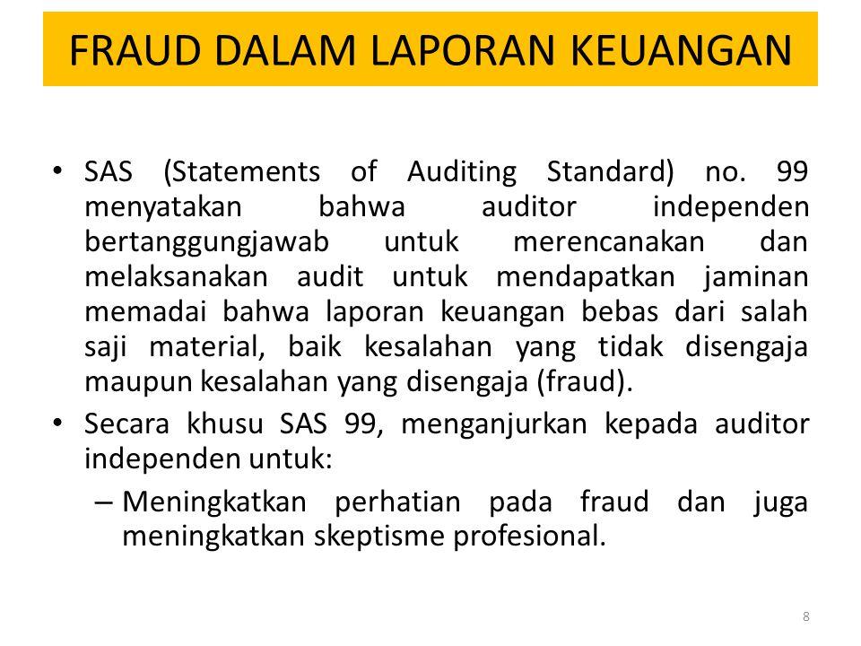 FRAUD DALAM LAPORAN KEUANGAN SAS (Statements of Auditing Standard) no. 99 menyatakan bahwa auditor independen bertanggungjawab untuk merencanakan dan