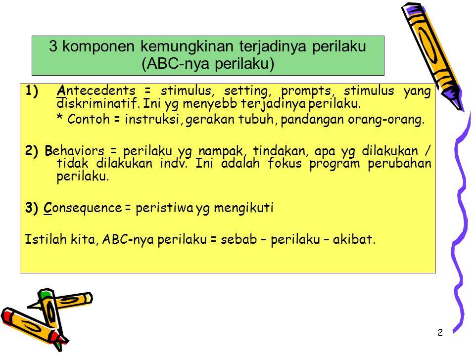3 Kompleksitas ABC-nya perilaku Dalam ABC-nya perilaku: Sederhana = 1 antecedent (stimulus) – 1 perilaku – 1 konsekuensi Misal = * antecendent = telepon berbunyi * behavior = kita menjawab telepon * consequense = ada suara dr seberang.