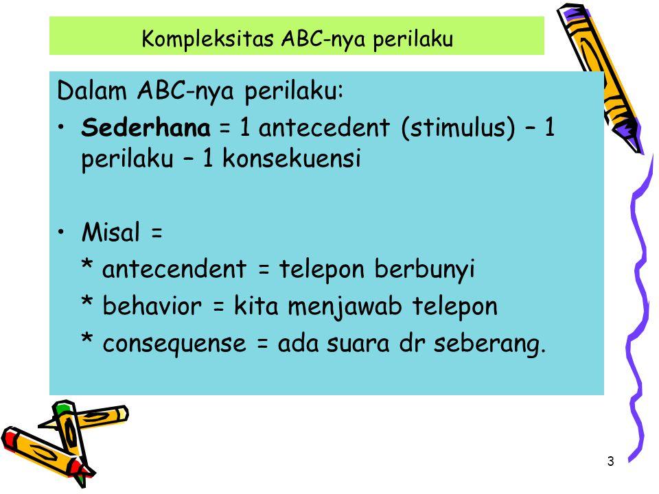 3 Kompleksitas ABC-nya perilaku Dalam ABC-nya perilaku: Sederhana = 1 antecedent (stimulus) – 1 perilaku – 1 konsekuensi Misal = * antecendent = telep