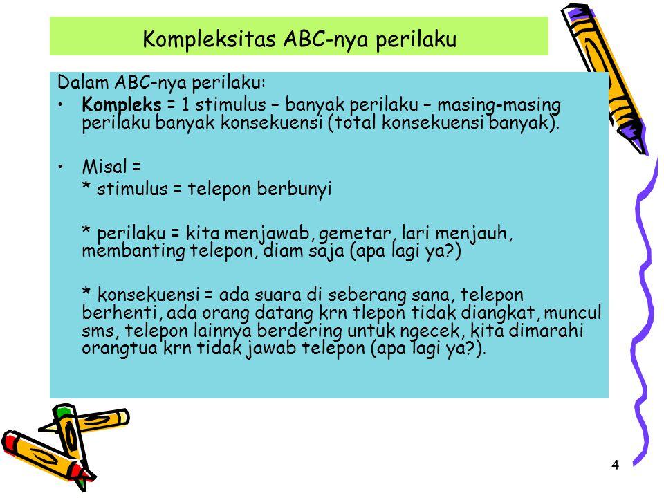 4 Kompleksitas ABC-nya perilaku Dalam ABC-nya perilaku: Kompleks = 1 stimulus – banyak perilaku – masing-masing perilaku banyak konsekuensi (total kon