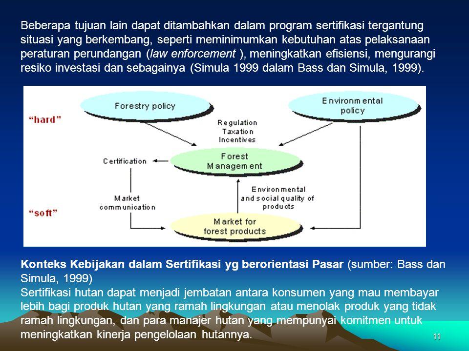 11 Beberapa tujuan lain dapat ditambahkan dalam program sertifikasi tergantung situasi yang berkembang, seperti meminimumkan kebutuhan atas pelaksanaan peraturan perundangan (law enforcement ), meningkatkan efisiensi, mengurangi resiko investasi dan sebagainya (Simula 1999 dalam Bass dan Simula, 1999).