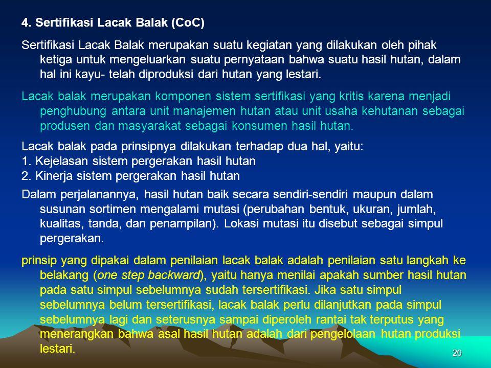 20 4. Sertifikasi Lacak Balak (CoC) Sertifikasi Lacak Balak merupakan suatu kegiatan yang dilakukan oleh pihak ketiga untuk mengeluarkan suatu pernyat