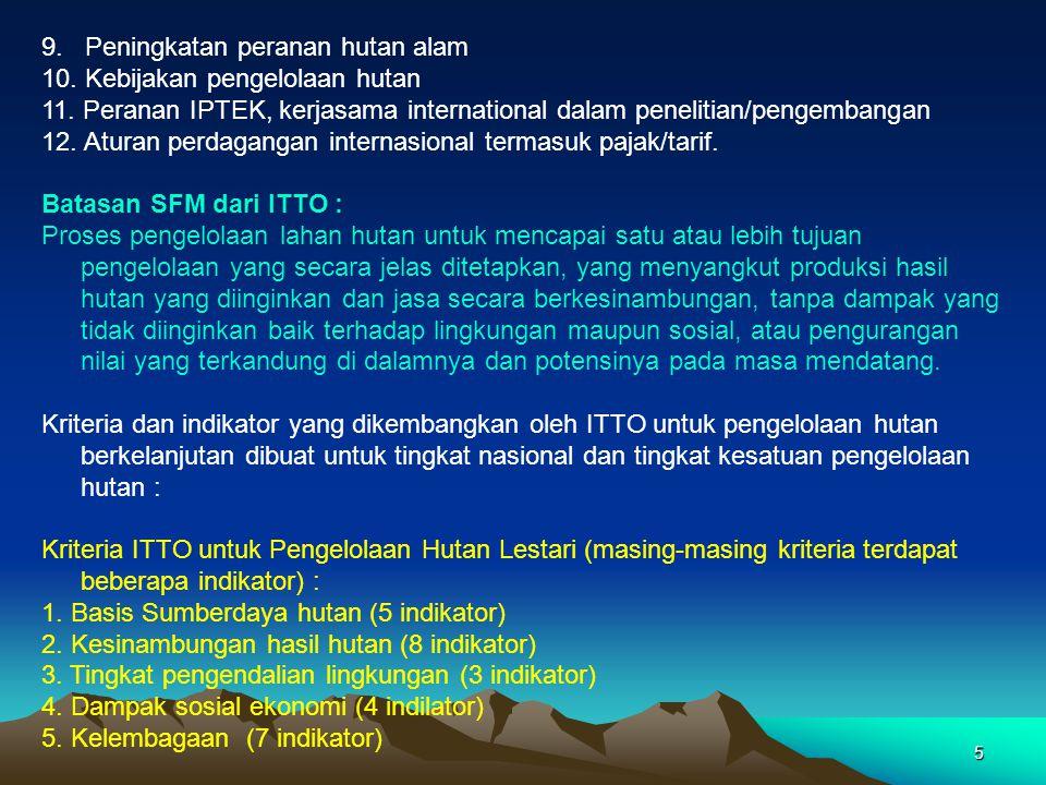 5 9. Peningkatan peranan hutan alam 10. Kebijakan pengelolaan hutan 11. Peranan IPTEK, kerjasama international dalam penelitian/pengembangan 12. Atura
