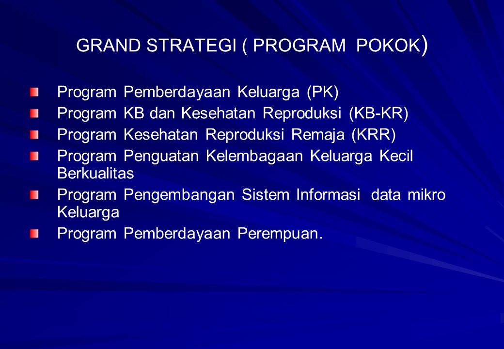 GRAND STRATEGI ( PROGRAM POKOK ) Program Pemberdayaan Keluarga (PK) Program KB dan Kesehatan Reproduksi (KB-KR) Program Kesehatan Reproduksi Remaja (K