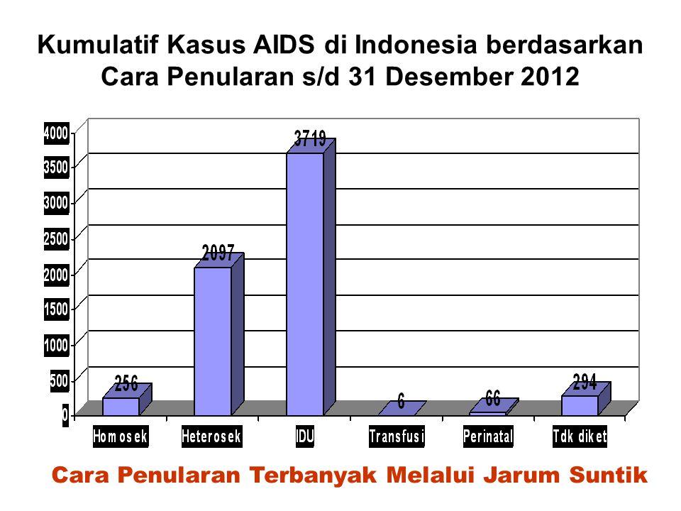 Kumulatif Kasus AIDS di Indonesia berdasarkan Kelompok Umur s/d 31 Desember 2012 Presentase Kasus AIDS Kelompok umur 20-29 jauh lebih banyak
