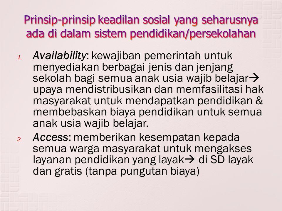 1. Availability: kewajiban pemerintah untuk menyediakan berbagai jenis dan jenjang sekolah bagi semua anak usia wajib belajar  upaya mendistribusikan
