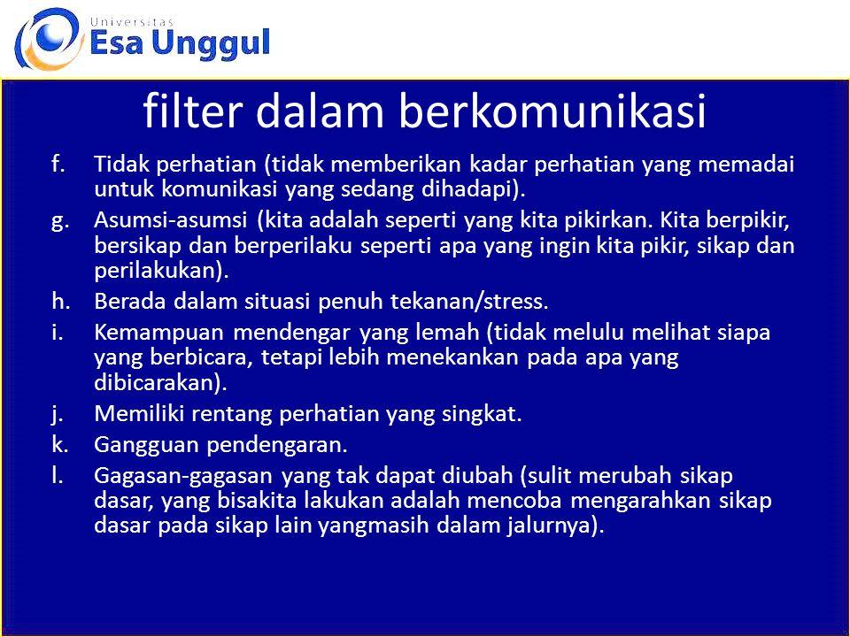 filter dalam berkomunikasi f.Tidak perhatian (tidak memberikan kadar perhatian yang memadai untuk komunikasi yang sedang dihadapi). g.Asumsi-asumsi (k
