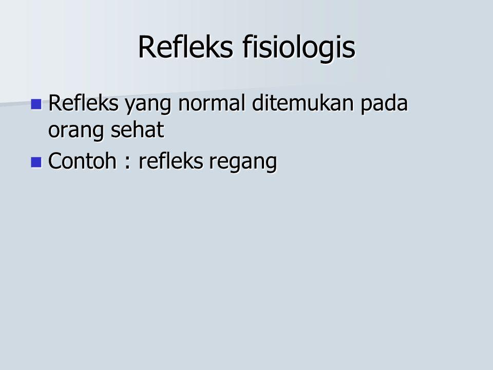 Refleks fisiologis Refleks yang normal ditemukan pada orang sehat Refleks yang normal ditemukan pada orang sehat Contoh : refleks regang Contoh : refl