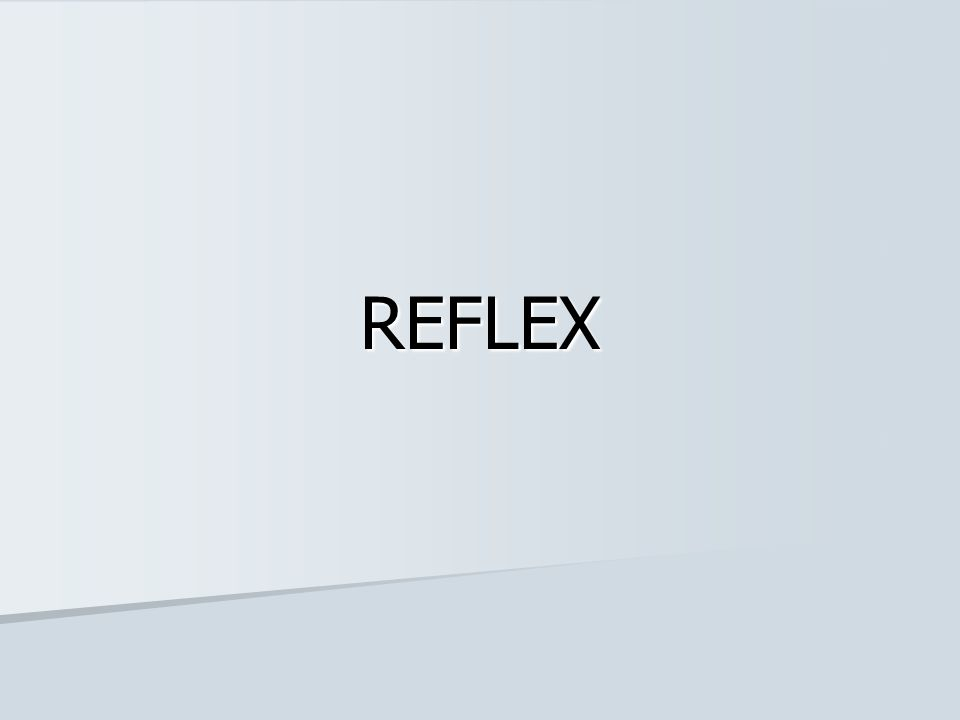 Definisi Reflex adalah rangkaian gerakan yang dilakukan secara cepat, involunter dan tidak direncanakan sebagai respon terhadap suatu stimulus Reflex adalah rangkaian gerakan yang dilakukan secara cepat, involunter dan tidak direncanakan sebagai respon terhadap suatu stimulus Merupakan fungsi integratif Merupakan fungsi integratif Lengkung reflex (reflex arc) adalah jalur yang dilewati oleh impuls saraf untuk menghasilkan reflex Lengkung reflex (reflex arc) adalah jalur yang dilewati oleh impuls saraf untuk menghasilkan reflex