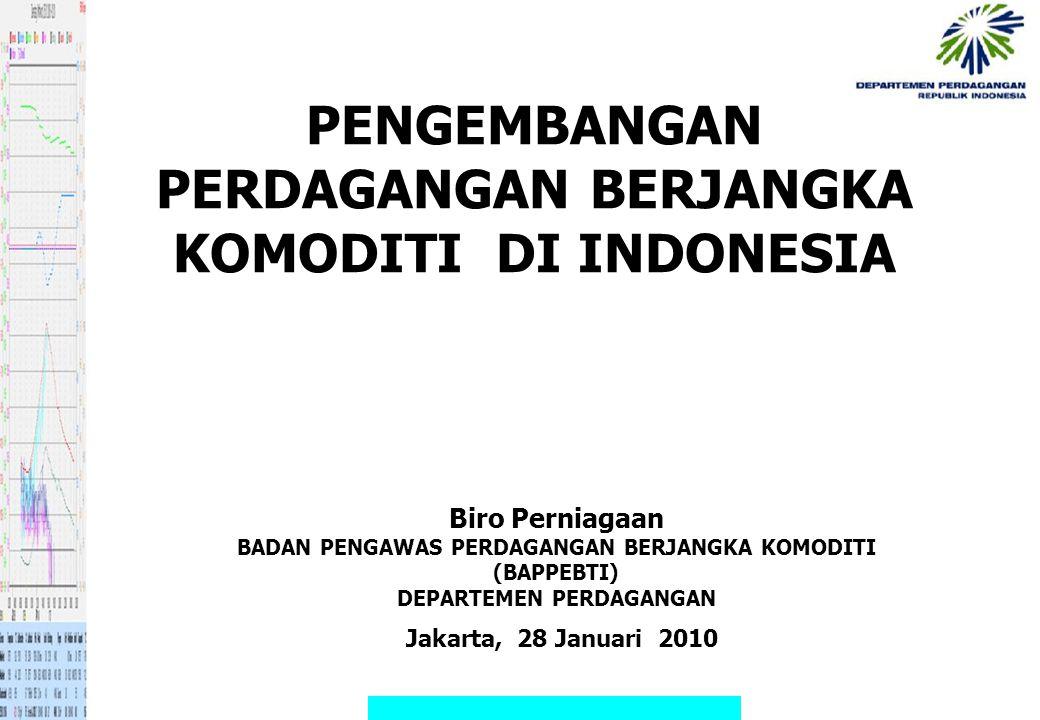 PENGEMBANGAN PERDAGANGAN BERJANGKA KOMODITI DI INDONESIA Biro Perniagaan BADAN PENGAWAS PERDAGANGAN BERJANGKA KOMODITI (BAPPEBTI) DEPARTEMEN PERDAGANG