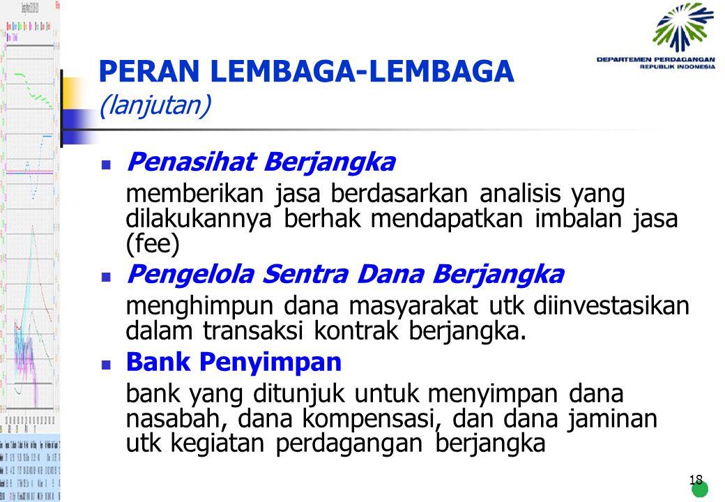 18 PERAN LEMBAGA-LEMBAGA (lanjutan) Penasihat Berjangka memberikan jasa berdasarkan analisis yang dilakukannya berhak mendapatkan imbalan jasa (fee) P