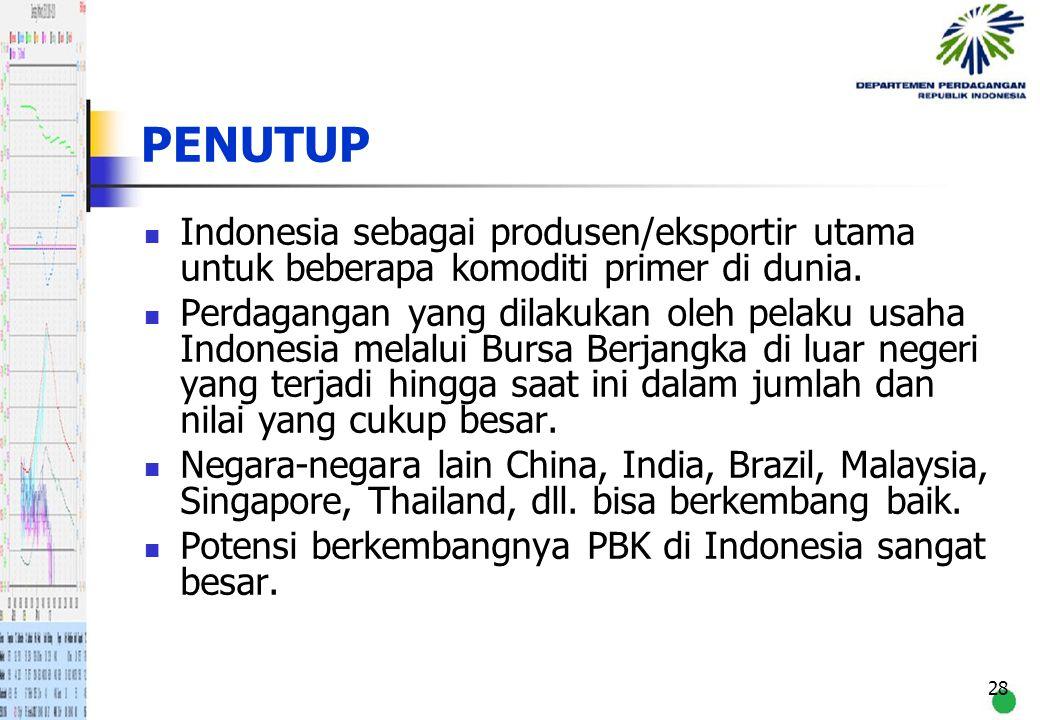 28 PENUTUP Indonesia sebagai produsen/eksportir utama untuk beberapa komoditi primer di dunia. Perdagangan yang dilakukan oleh pelaku usaha Indonesia