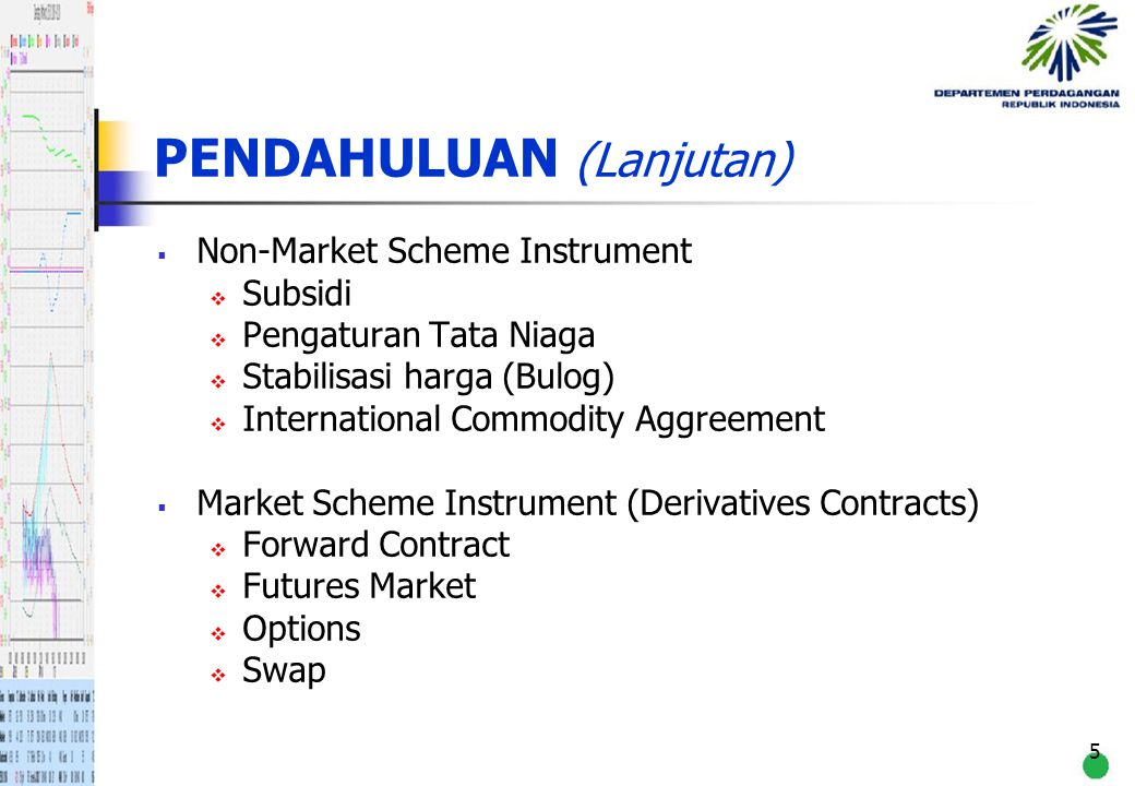 6 PENGERTIAN UMUM DERIVATIVES CONTRACT Financial contract whose value is derived from or depends on the price of its underlying asset.