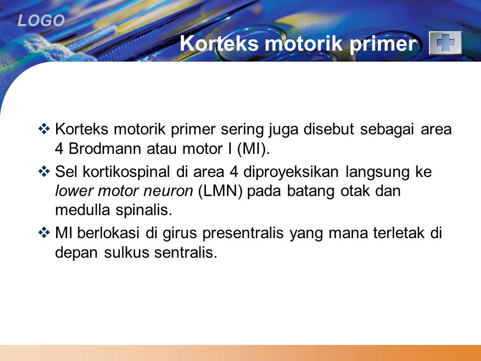 LOGO Korteks motorik primer  Korteks motorik primer sering juga disebut sebagai area 4 Brodmann atau motor I (MI).  Sel kortikospinal di area 4 dipr